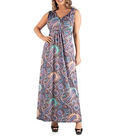 Women's Plus Size Paisley Maxi Dress