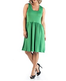 Women's Plus Size Pleated Fit and Flare Dress