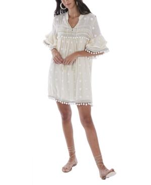 Allison New York WOMEN'S POM POM EMBROIDERED DRESS
