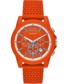 Men's Chronograph Outerbanks Orange Silicone Strap Watch 44mm