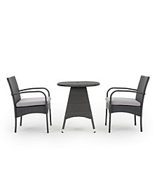 Peterson Outdoor 3 Piece Bistro Set with Cushions