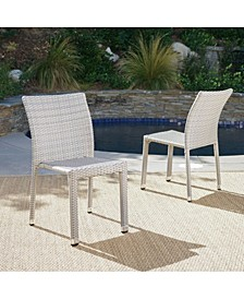 Dover Outdoor Armless Stacking Chairs with Frame, Set of 2