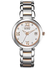 Women's Eco-Drive Signature Diamond Accent Two-Tone Stainless Steel Bracelet Watch 33mm EO1116-57A