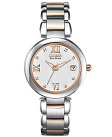 Citizen Women's Eco-Drive Signature Diamond Accent Two-Tone Stainless Steel Bracelet Watch 33mm EO1116-57A