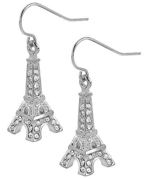 Silver-Tone Crystal Eiffel Tower Drop Earrings
