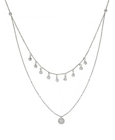 Double Layered Rhodium Chain Crystal Disc Women's Necklace
