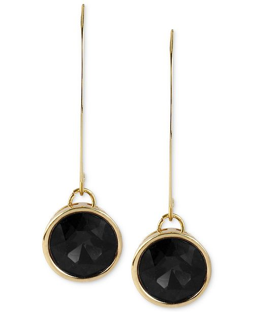 Kenneth Cole New York Gold-Tone Faceted Round Bead Long Drop Earrings