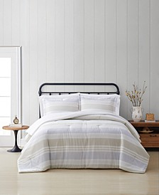 Spa Stripe King 3 Piece Comforter Set
