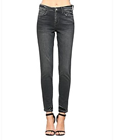 High Rise Hem Tacking Skinny Ankle Jeans