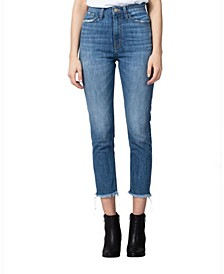 Super High Rise Raw Hem Slim Fit Hip Mom Jeans