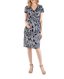 Paisley Faux Wrapover Maternity Dress