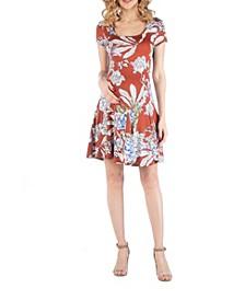 Knee Length A Line Floral Print Maternity Dress