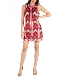 Sleeveless Hooded Chevron Geometric Pattern Maternity Dress