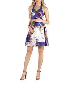 Watercolor Floral Print Beaded Halter Maternity Dress