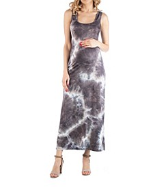 Sleeveless Maternity Tie Dye Maxi Dress