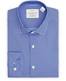 Con.Struct Men's Slim-Fit Non-Iron Performance Stretch Blue Gingham Cooling Comfort Dress Shirt