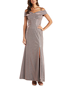 Nightway Cold-Shoulder Glitter Gown