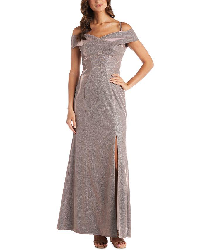 Nightway - Cold-Shoulder Glitter Gown