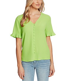 Ruffled Sleeve Button-Down Top