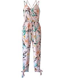 Floral Bow Tie Jumpsuit