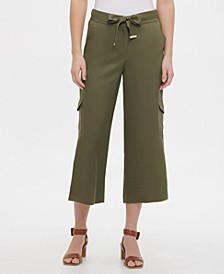 Cropped Wide-Leg Cargo Pants