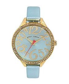 Women's Reflective Lens Metallic Blue Polyurethane Strap Bracelet Watch 42mm