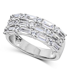 Swarovski Zirconia Baguette Band in Sterling Silver