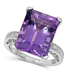 Amethyst (9 ct. t.w.) & Diamond (1/8 ct. t.w.) Ring in 14k White Gold