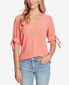 V-Neck Ruffled Tie-Sleeve Top