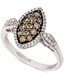 Chocolate Diamond (3/8 ct. t.w.) & Nude Diamond (1/4 ct. t.w.) Marquise Cluster Ring in 14k White Gold