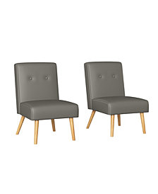 Handy Living Webster Button Tufted Armless Chair Set of 2