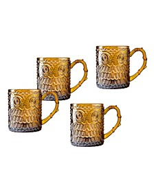 Owl Amber Set of 4 Mugs