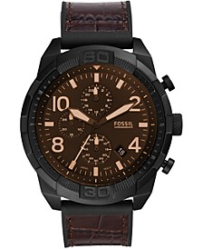 Men's Chronograph Bronson Brown Embossed Leather Strap Watch 50mm