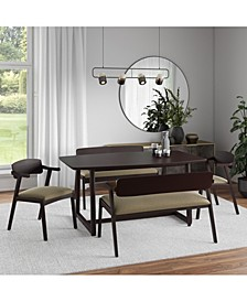 Millie 5 Piece Mid Century Modern Rectangular Espresso Wood Dining Table with Arm Benches and Arm Chairs