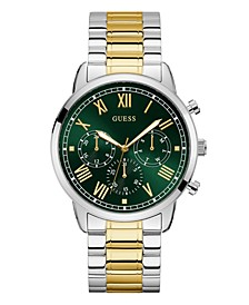 Men's Two-Tone Green Dial Multifunction Watch 44mm