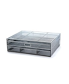 Metal Desk Monitor Stand Riser with 2 Organizer Drawers