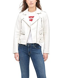 Classic Faux Leather Asymmetrical Motorcycle Jacket