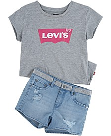 Big Girls Batwing Graphic-Print T-Shirt & Distressed Denim Shorts Separates