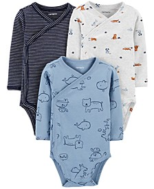 Baby Boys 3-Pack Printed Side-Snap Cotton Bodysuits