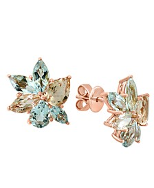 LALI Jewels Aquamarine (3-5/8 ct. t.w.) & Morganite (3-1/6 ct. t.w.) Flower Stud Earrings in 14k Rose Gold