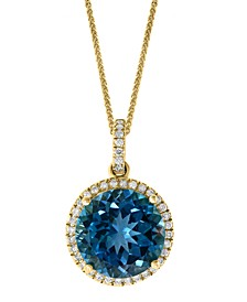 "LALI Jewels London Blue Topaz (7-1/4 ct. t.w.) & Diamond (1/4 ct. t.w.) 18"" Pendant Necklace in 14k Gold"