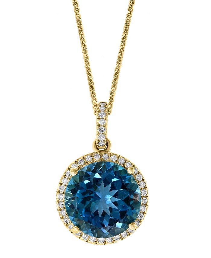 "LALI Jewels - London Blue Topaz (7-1/4 ct. t.w.) & Diamond (1/4 ct. t.w.) 18"" Pendant Necklace in 14k Gold"