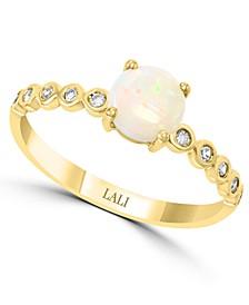 LALI Jewels Opal (1/2 ct. t.w.) & Diamond (1/10 ct. t.w.) in 14k Gold