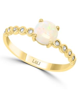 Opal (1/2 ct. t.w.) & Diamond (1/10 ct. t.w.) in 14k Gold