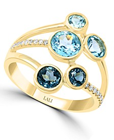 LALI Jewels Multi-Gemstone (2 ct. t.w.) & Diamond (1/10 ct. t.w.) Ring in 14k Gold