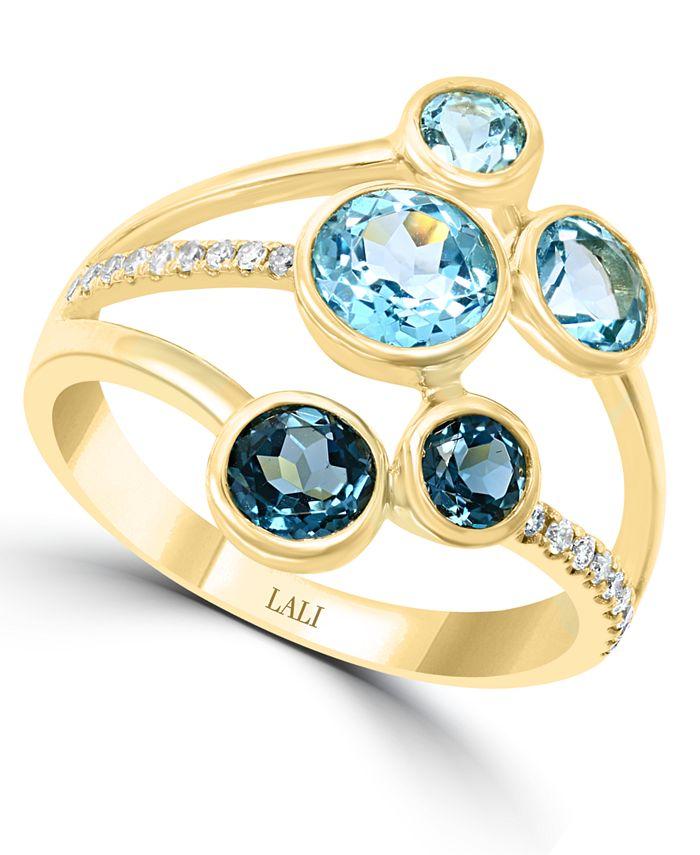 LALI Jewels - Multi-Gemstone (2 ct. t.w.) & Diamond (1/10 ct. t.w.) Ring in 14k Gold