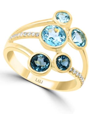Multi-Gemstone (2 ct. t.w.) & Diamond (1/10 ct. t.w.) Ring in 14k Gold