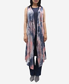 Women's Tie Dye Hoodie Vest