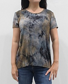 Women's Tie Dye Short Sleeve Button Back Top