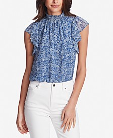 Calico Fans Flutter-Sleeve Top